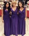 Purple V-Neck Ruched Bodice Sleeveless Long Chiffon Bridal Dress