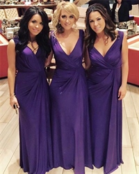 Purple V-Neck Ruched Bodice Sleeveless Long Chiffon Bridal Dress
