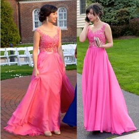 Hot Pink Sheer Lace Bodice Chiffon Skirt Long Bridesmaid Dress