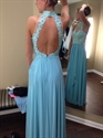 Light Blue Halter Beaded Backless Lace Bodice Chiffon Prom Gown