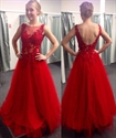 Red Sheer Illusion Lace Bodice Open Back Tulle Bottom Prom Dress