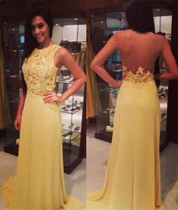 Champagne Lace Top Open Back A Line Chiffon Long Prom Dress
