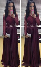 Burgundy Off The Shoulder Long Sleeve Lace Top Chiffon Evening Dress
