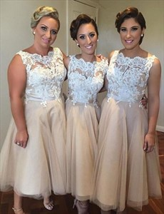 Champagne Lace Bodice Tulle Sleeveless Tea Length Bridesmaid Dresses