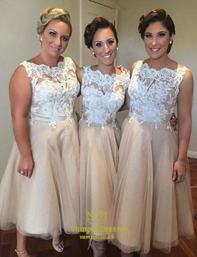 Champagne Lace Bodice Tulle Sleeveless Tea Length Bridesmaid Dresses