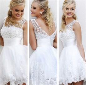 White Beaded Open Back Short Lace Embellished Homecoming Dresses