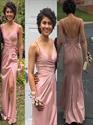 Pink V-Neck Spaghetti Straps Sheath Backless Maxi Dress With Side Slit