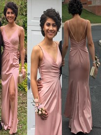 Pink V-Neck Spaghetti Straps Sheath Backless Maxi Dress With Side Slit