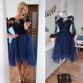 Sheer Applique Bodice Tulle Short Cocktail Dress With Long Sleeve