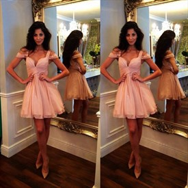 Pink Off The Shoulder Sweetheart Chiffon Short Skater Bridal Dress