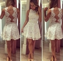 White Short Lace Open Back Fit And Flare Cocktail Dress