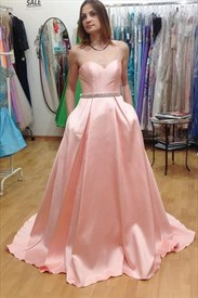 Pink Strapless Sweetheart Beaded Waist Long Formal Evening Gown