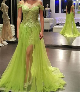 Off The Shoulder Backless Lace Top Prom Dress With Sheer Overlay