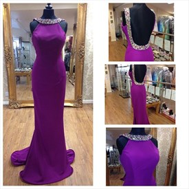 Violet Jewel Neck Halter Open Back Sheath Long Evening Dress