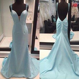 Baby Blue V Neck Backless Long Evening Dress With Beaded Straps
