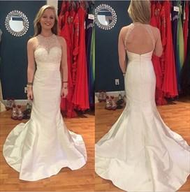 Ivory Open Back Beaded Bodice Halter Column Long Prom Dress