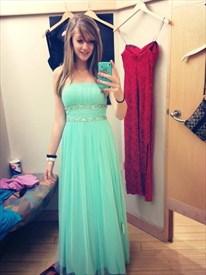 Mint Green Strapless Empire Beaded Waist Long Chiffon Bridal Dress