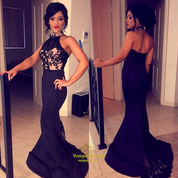 Black Embellished Top Backless Halter Neck Long Mermaid Prom Dress