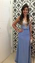 Light Blue V-Neck Beaded Bodice Side Slit Prom Dress With Keyhole