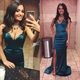 Teal Strapless Sweetheart Long Sheath Prom Dress With Side Slit