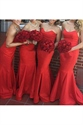 Red Strapless Sleeveless Mermaid Floor Length Bridal Dress
