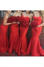 Red Strapless Sleeveless Mermaid Floor Length Bridal Dress