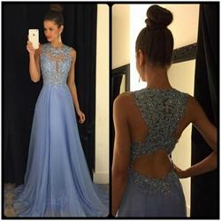 Light Blue Illusion Beaded Bodice Chiffon Prom Dress With Keyhole