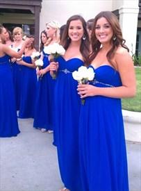 Royal Blue Empire Strapless Ruched Bodice Beaded Chiffon Bridal Dress