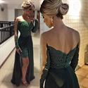 Illusion Lace Bodice Long Sleeve Prom Dress With Sheer Overlay