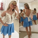 Short Sheer Beaded Lace Prom Dress With Illusion Neck And Sleeves
