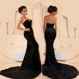 Black Strapless Sweetheart Mermaid Floor Length Prom Dress