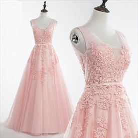 Blush Pink V Neck Lace Applique Tulle Ball Gown Prom Dress