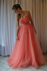 Coral Sweetheart Strapless Beaded Waist Tulle Long Prom Dress