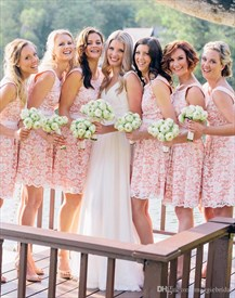 Pink Short Sleeveless Scoop Neck Fit And Flare Lace Bridal Dress