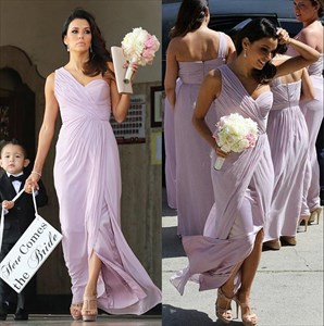 Lilac One Shoulder Long Chiffon Bridal Dress With Side Slit
