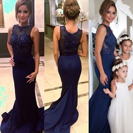 Navy Blue Beaded Mermaid Evening Gown With Sheer Illusion Bodice
