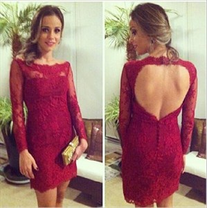 Burgundy Backless Lace Short Sheath Homecoming Dress With Long Sleeves