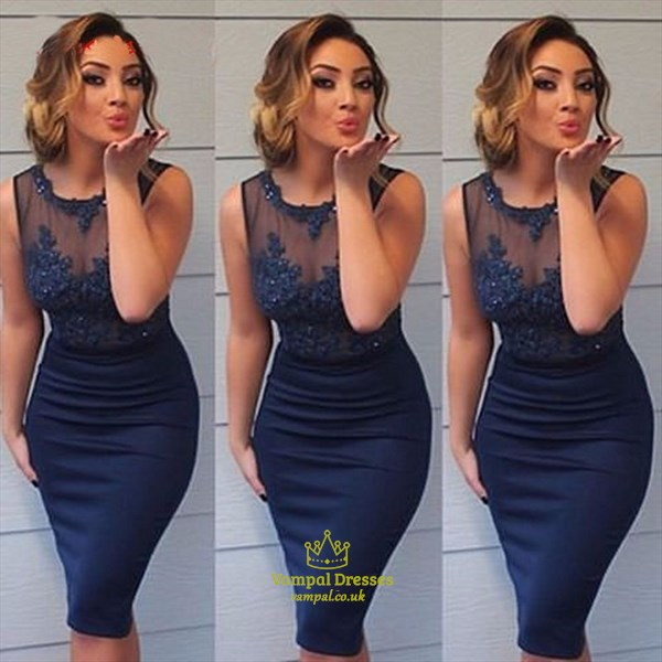 Navy Blue Illusion Lace Embellished Top Short Sheath Prom Dress