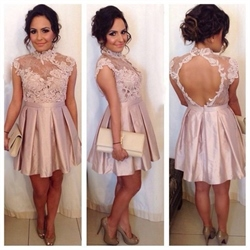 Pink High Neck Lace Embellished Top Backless Short Party Dress