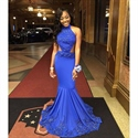Royal Blue Beaded Embellished High Neck Backless Mermaid Gown