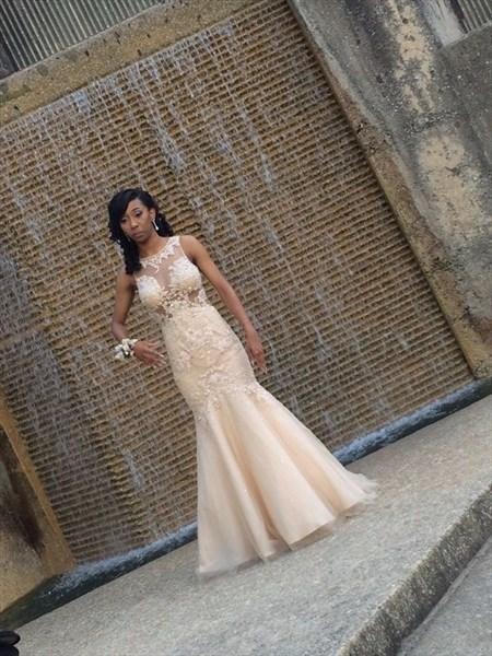 Champagne Beaded Embellished Illusion Neck Mermaid Wedding Dress