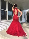 Red Halter Neck Beaded Open Back Mermaid Tulle Evening Gown