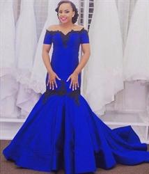 Royal Blue Lace Embellished Off The Shoulder Mermaid Evening Dress