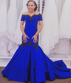 Royal Blue Lace Embellished Off The Shoulder Mermaid Evening Dress