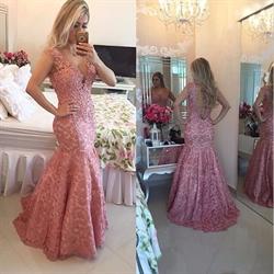 Pink V-Neck Applique Sleeveless Lace Backless Floor-Length Dress