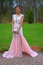 Pink Lace Applqiue Bodice Open Back Chiffon Side Cut Out Prom Dress