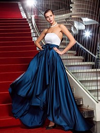 Sleeveless Long Strapless Two Tone Formal Evening Gown With Bow