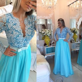 V Neck Beaded Lace Top Long Sleeve Backless Chiffon Prom Dress