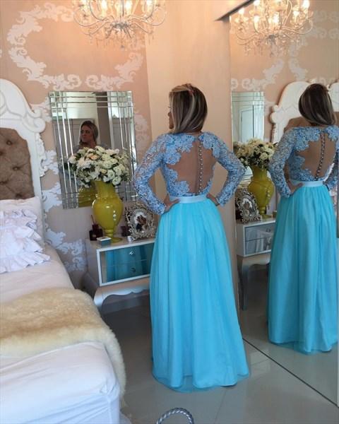 V Neck Beaded Lace Top Long Sleeve Backless Chiffon Prom Dress