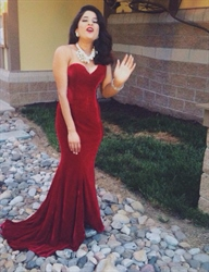 Burgundy Strapless Sweetheart Mermaid Floor Length Prom Dress